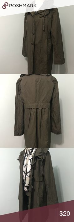 Coat Coat/raincoat by Ann Taylor Loft. Gathered collar, 4 front buttons, 2 deep pockets slight metallic sheen, In excellent used condition Ann Taylor Jackets & Coats