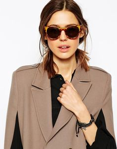 ASOS Handmade Acetate Round Sunglasses With Cut Away Detail