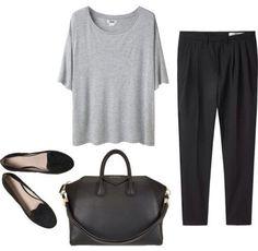 gray tshirt, black trousers, black flats, black bag