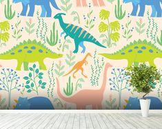 Dinosaurs wallpaper mural room setting