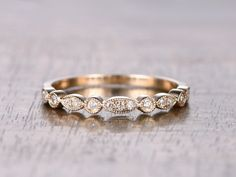 Art Deco Diamond Wedding Ring Half Eternity Band von kilarjewelry