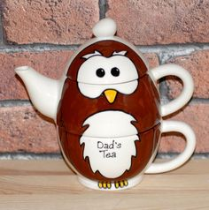 Hand Painted Personalised Ceramic Owl animal Tea for One teapot and cup gift set