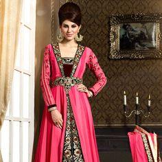 Shaded #Pink Faux Georgette #Anarkali Churidar Kameez