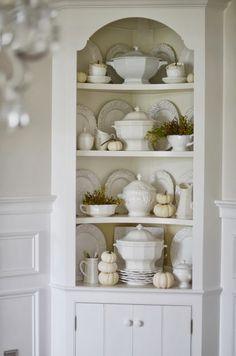 FALL HUTCH   WHITE PUMPKINS AND SOUP TUREENS. Corner CupboardCorner CabinetsCorner  HutchCorner Cabinet Dining RoomWhite ...