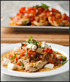 Chicken in a Tomato-Basil Broth over Couscous