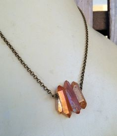 Peach Crystal Points Necklace on Bronze Rolo Chain  by CombustionGlassworks, $32.50