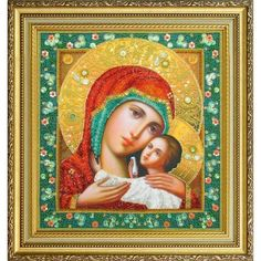 Orthodox icon Virgin Mother of God Beads Embroidery kit
