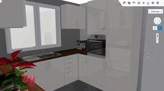 Vista de detalle de cocina, propuesta de distribución.