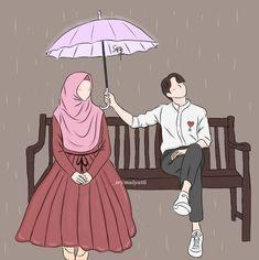 Love Cartoon Couple, Cute Couple Art, Cute Muslim Couples, Cute Couples, Muslim Pictures, Hijab Drawing, Islamic Cartoon, Anime Muslim, Cute Quotes For Life
