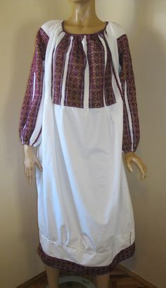 Splendid antique Romanian traditional blouse dress from Muscel area. The dress is hand woven with burgundy cotton thread on white linen. Available at www.greatblouses.com Blouse Dress, Costume Dress, Cotton Thread, Hand Weaving, Flora, Burgundy, Blouses, Costumes, Traditional