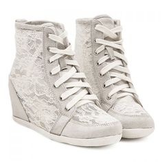 Korean Style Gray and Lace Design Wedge Shoes For Women, GRAY, 37 in Wedges | DressLily.com