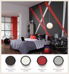 Grey and Red Bedroom Theme | For a rock and roll bedroom theme, try red, black and gray.