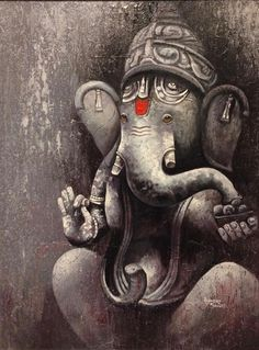 """Rajender Bharti says """" realism begins from the position that truth can be discovered by the individual through the senses. Ganesha Sketch, Ganesha Drawing, Lord Ganesha Paintings, Lord Shiva Painting, Buddha Painting, Ganesha Art, Krishna Painting, Shri Ganesh, Hanuman"""