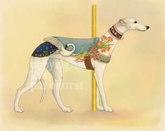 Carousel White Greyhound Series Signed Print 1 by toadbriar