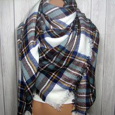 Zara Tartan Inspired, Blue, Sage Green, Brown, White, Large Oversized Women's Winter Scarves
