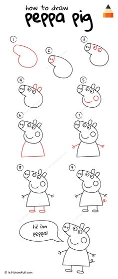 How To Draw Peppa Pig Morgen Gruss Basteln Kinder ❤ zeichnen How To Draw Peppa Pig Art Drawings For Kids, Easy Drawings, Art For Kids, Crafts For Kids, Drawing Ideas, Drawing Tips, Easy Drawing For Kids, Drawing Tutorials, Drawing Techniques