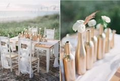 Champagne Bottle Centerpieces: Spray paint champagne wine bottles silver and gold, add your choice of florals and use them as your #centerpieces.