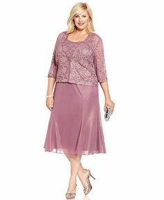 $209  Alex Evenings Plus Size Shimmer Lace Dress and Jacket - Mother of the Bride - Women - Macy's