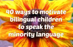 40 ways to motivate bilingual children to speak the minority language