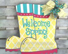 Monogrammed Chevron Easter Bunny Door Hanger by SparkledWhimsy