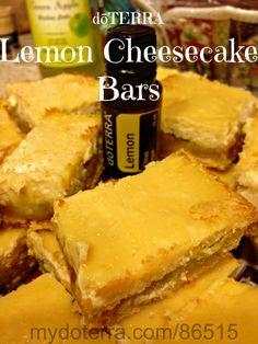 Lemon Cheesecake Bars    These look yummy!  http://www.doterra.myvoffice.com/christyrogers/