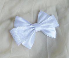 7 Hair bow  french clip  white  wedding cute bridal
