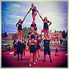 WOU Cheer 2013-14. Totem Pole Pyramid. Group stunting. Partner stunting. College Cheer.
