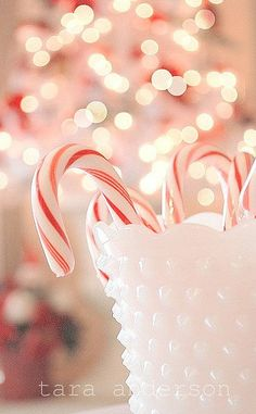 Candy canes in vintage milk glass ♡
