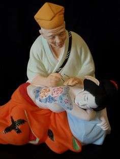 Modern replica of the late Hakata Urasaki Doll (with a Ryuu / Dragon tattoo). I'm a collector. Only the quality ones. This one is friggin beautiful. Japanese Men, Japanese Culture, Vintage Japanese, Japanese Doll, Japanese Style, Love Tattoos, Girl Tattoos, Irezumi Tattoos, Asian Doll