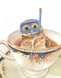 Owl Teacup Watercolour PRINT - Open Edition, Scuba Diving,Nursery Art, 11x14 Print