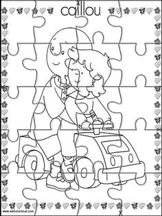 Printable jigsaw puzzles to cut out for kids Caillou 9 Coloring Pages