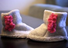 I adore the minky pair of these booties that I just made for Lili in newborn size. I've also made several pairs for Titus out of fleece ... takes about 45 minutes from start to finish -- easy and cute!