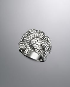 Woven Cable Ring, Pave Diamonds  by David Yurman at Neiman Marcus.