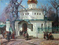 Stepan Fedorovitch Kolesnikoff (1879-1955).  Паломники у церкви