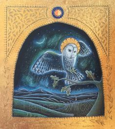 The Winter Owl. Hannah Willow. Pencil, acrylic and 22ct gold leaf. For the Winter exhibition at #twentytwentygallery www.hannanwillow.com www.facebook.com/Hannah.willow.artisg www.instagram.com/hannahwillow.artist #owl #gilded #moon #landscape #art #illustration.