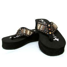 2b093373d Gypsy Soule Mali Black Wedge Embellished Flip Flops BW-Mali. Outback  Western Wear · Womens Sandals