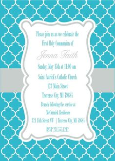 Moroccan First Communion Invitations