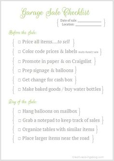 Garage Sale Checklist
