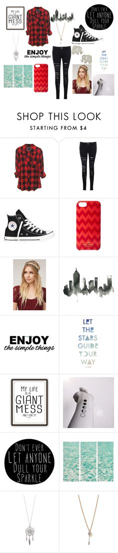 """""""Outfit"""" by cutiepiexoxo2002 ❤ liked on Polyvore featuring Converse, Kate Spade, With Love From CA, Billabong, Monday, Dogeared, women's clothing, women, female and woman"""