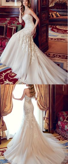 NEW! Fantastic Tulle Sweetheart Neckline Natural Waistline Mermaid Wedding Dress With Beaded Lace Appliques