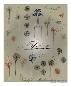 DOWNLOADABLE DANDELION VECTORS ... perfect for large wall accents and anything needing a breath of fresh air. @ My Vinyl Designer (http://www.myvinyldesigner.com/Products/dandelions.aspx)