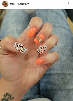 Salmon (pink/orange) nails! With diamonds and #cheetahprint #summernails