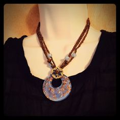 Vintage statement necklace Very pretty hand blown glass pendant. Nice statement necklace Jewelry Necklaces