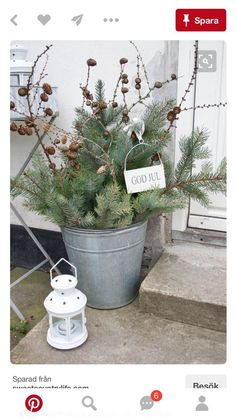 Easy to Make Outdoor Christmas Decorations on a Budget Christmas greens and pine cones in a bucket Christmas Porch, Noel Christmas, Scandinavian Christmas, Country Christmas, All Things Christmas, Winter Christmas, Christmas Crafts, Snowman Crafts, Green Christmas