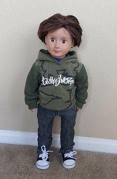 37567bfbfe74d Quiksilver green hoodie american girl boy doll 18 inch doll
