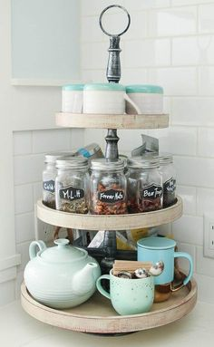 Vintage Kitchen Our Kitchen Tea Station and Tiered Trays for Kitchen Storage - The Happy Housie - Tiered tray stands are great for storage and organization or for seasonal displays; I used mine to create a tea station in our newly organized kitchen. Tea Station, Sweet Home, Tiered Stand, Cuisines Design, Küchen Design, Design Ideas, Interior Design, Modern Interior, House Design
