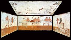 The Tomb of the Diver in Paestum, a gem of Greek painting - Italian Ways Tempera, Magna Graecia, Greek Paintings, Party Scene, Spiritus, Historical Artifacts, Roman Art, Mystery Of History, Mural Painting