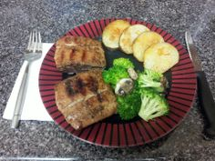 Jerk-rubbed mahi-mahi filet grilled over cedar planks, oven-roasted white potatoes w/garlic & smoked paprika, and broccoli florets & cremini mushrooms pan-seared in spicy roasted sesame oil.