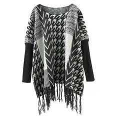 Black White Batwing Houndstooth Tassel Cardigan (2830 RSD) ❤ liked on Polyvore featuring tops, cardigans, batwing cardigan, tassel top, long tops, long cardigan and batwing top