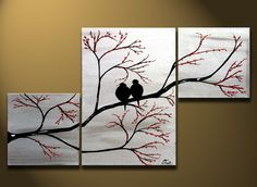 Love Birds in Tree Brance ORIGINAL Large Wall Art 40 x by OritArt, $224.00